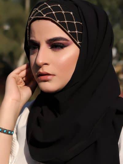 Black Luxury hijab scarf