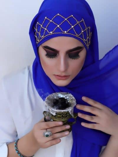 Blue luxury hijab