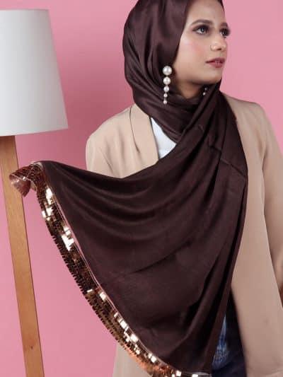 brown stylish sequins hijab