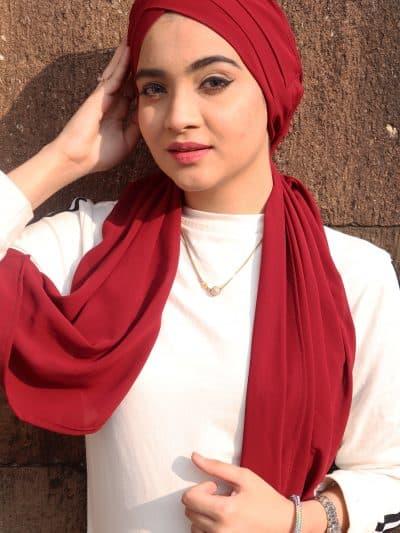 red georgette hijab