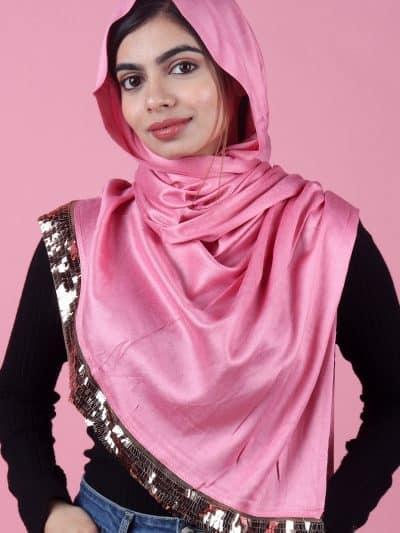 Pink stylish sequins hijab