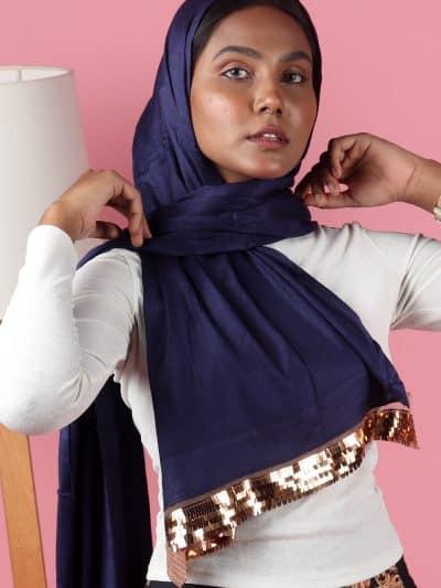 blue stylish Sequins hijab