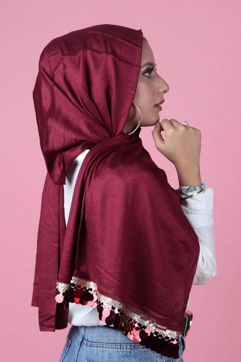 red stylish Sequins hijab