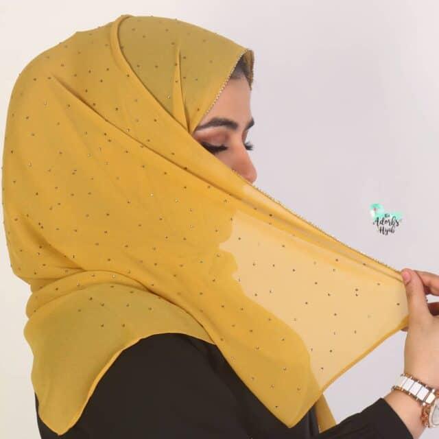 Shine like gold ⭐ Shop beaded chiffon hijabs, only on thatadorbshijab.com